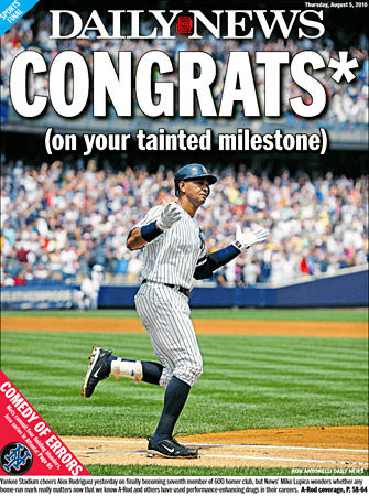 NY Daily News A-Rod 600 cover