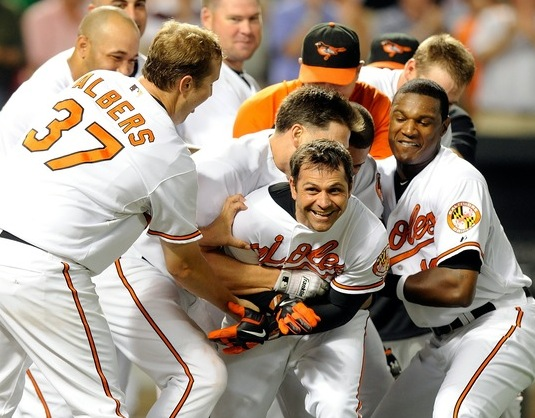 Brian Roberts greeted by tickle mob